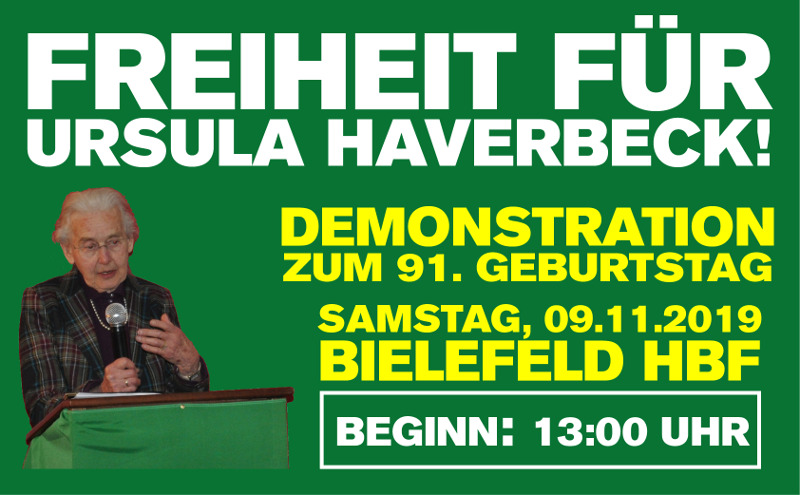 Freiheit für Ursula Haverbeck: Demonstration am 9. November in Bielefeld!